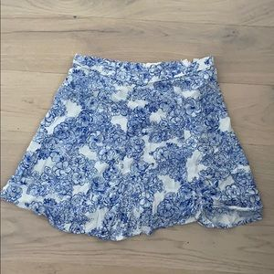 American apparel floral blue and white skirt